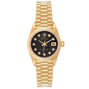 Rolex Black Onyx 18K Yellow Gold Datejust President 69178 Women's Wristwatch 26 MM