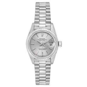 Rolex Silver 18K White Gold Datejust President 69179 Women's Wristwatch 26 MM