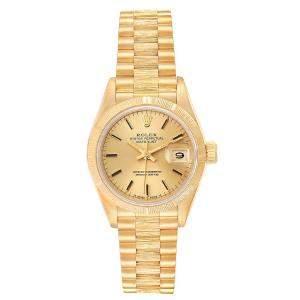 Rolex Champagne 18K Yellow Gold Datejust President 69278 Women's Wristwatch 26 MM