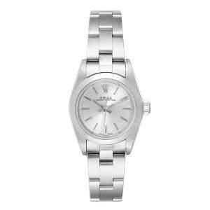 Rolex Silver Stainless Steel Oyster Perpetual 76080 Women's Wristwatch 24 MM