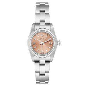 Rolex Salmon 18K White Gold And Stainless Steel Oyster Perpetual 76094 Women's Wristwatch 24 MM