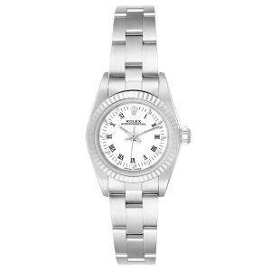 Rolex White 18K White Gold And Stainless Steel Oyster Perpetual 76094 Women's Wristwatch 24 MM