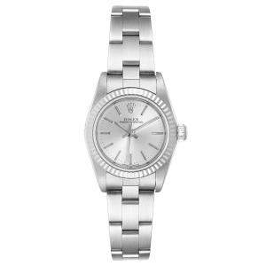 Rolex Silver 18K White Gold And Stainless Steel Oyster Perpetual 76094 Women's Wristwatch 24 MM