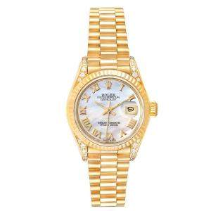 Rolex MOP Diamonds 18K Yellow Gold Datejust President 69188 Women's Wristwatch 26 MM