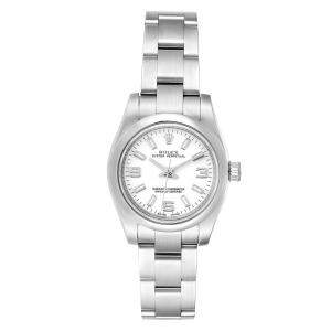Rolex White Stainless Steel Oyster Perpetual 176200 Women's Wristwatch 24 MM