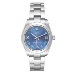 Rolex Blue Stainless Steel Oyster Perpetual 177200 Women's Wristwatch 31 MM