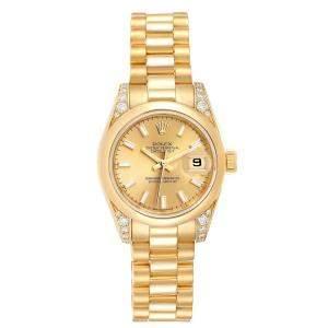 Rolex Champagne Diamonds 18K Yellow Gold President Crown Collection 179298 Women's Wristwatch 26 MM