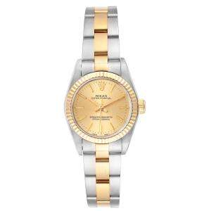 Rolex Champagne 18K Yellow Gold And Stainless Steel Oyster Perpetual Non-Date 67193 Women's Wristwatch 24 MM