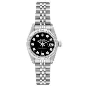 Rolex Black Diamonds 18K White Gold Datejust 69174 Women's Wristwatch 26 MM