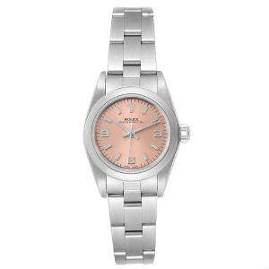 Rolex Salmon Stainless Steel Oyster Perpetual 76080 Women's Wristwatch 24 MM
