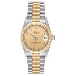 Rolex Champagne 18K White Gold/ Yellow Gold/ Rose Gold Stainless Steel President Tridor 78279 Women's Wristwatch 31 MM