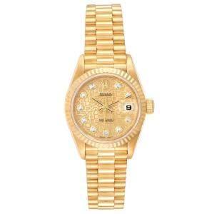 Rolex Champagne Diamonds 18K Yellow Gold President Datejust 79178 Women's Wristwatch 26 MM