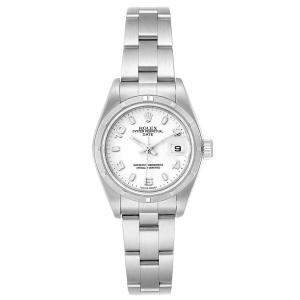 Rolex White Stainless Steel Oyster Perpetual Date 79190 Women's Wristwatch 25 MM