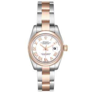 Rolex White 18K Rose Gold And Stainless Steel Datejust 179161 Women's Wristwatch 26 MM