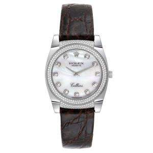 Rolex MOP Diamonds 18K White Gold Cellini Cestello 6321 Women's Wristwatch 34 MM
