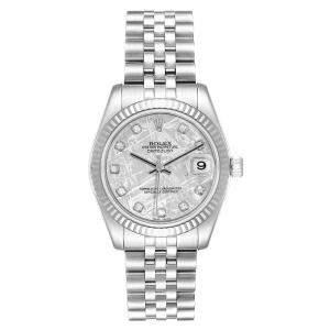 Rolex Datejust Midsize Steel White Gold Meteorite Diamond Watch 178274 Women's Wristwatch 26 MM