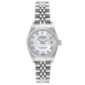 Rolex Datejust Mother of Pearl Dial Steel White Gold Ladies Watch 79174 Women's Wristwatch 26 MM