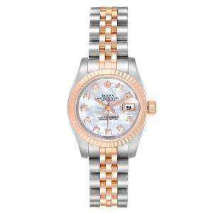 Rolex MOP Diamonds 18K Rose Gold And Stainless Steel Datejust 179171 Automatic Women's Wristwatch 26 MM