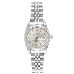 Rolex Silver 18K White Gold And Stainless Steel Datejust 69174 Automatic Women's Wristwatch 26 MM