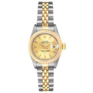 Rolex Champagne 18K Yellow Gold And Stainless Steel Datejust 69173 Automatic Women's Wristwatch 26 MM