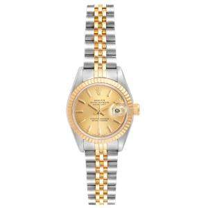 Rolex Champagne Diamonds 18K Yellow Gold And Stainless Steel Datejust 69173 Women's Wristwatch 26 MM