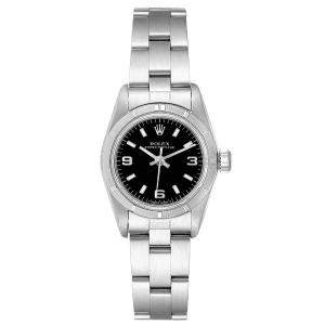 Rolex Black Oyster Perpetual 67230 Women's Wristwatch 24 MM