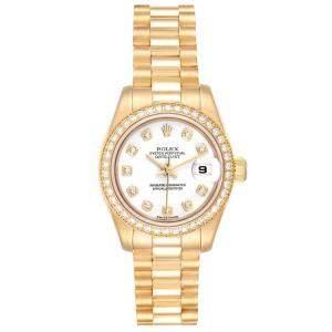 Rolex White Diamonds 18K Yellow Gold President 179138 Women's Wristwatch 26 MM