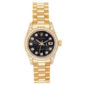 Rolex Black Diamonds 18K Yellow Gold President 179158 Women's Wristwatch 26 MM