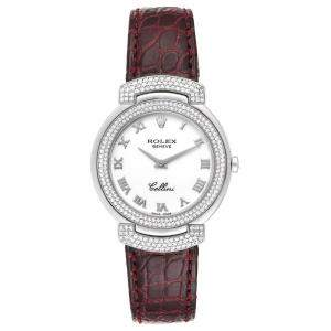 Rolex White Diamonds 18K White Gold Cellini Cellissima 6683 Women's Wristwatch 33 MM