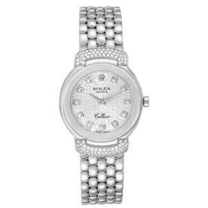 Rolex Silver Diamond 18K White Gold Cellini Cellissima 6672 Women's Wristwatch 26 MM