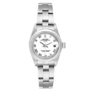 Rolex White Stainless Steel Oyster Perpetual Date Automatic 79160 Women's Wristwatch 26 MM