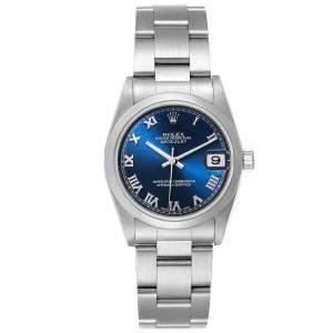 Rolex Blue Stainless Steel Datejust 78240 Women's Wristwatch 31 MM