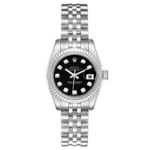 Rolex Black Diamonds 18K White Gold And Stainless Steel Datejust 179174 Women's Wristwatch 26 MM