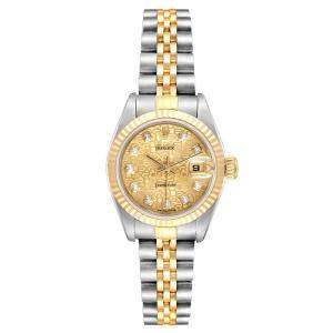 Rolex Diamonds Champagne 18K Yellow Gold And Stainless Steel Datejust Automatic 69173 Women's Wristwatch 26 MM