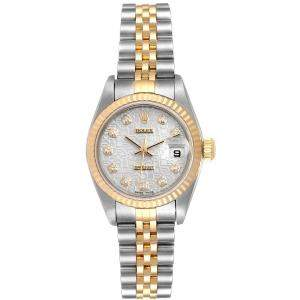 Rolex Silver Diamonds 18K Yellow Gold And Stainless Steel Datejust Automatic 79173 Women's Wristwatch 26 MM