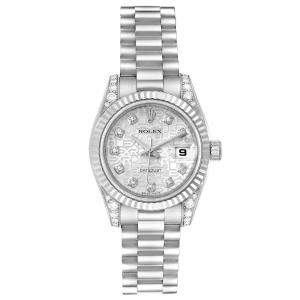 Rolex Silver Diamonds 18K White Gold And Stainless Steel President Crown Collection 179239 Women's Wristwatch 26 MM