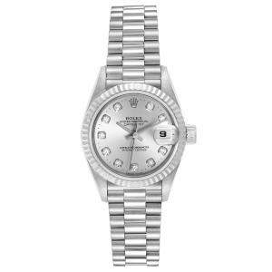 Rolex Silver Diamonds 18K White Gold And Stainless Steel President Datejust 69179 Women's Wristwatch 26 MM