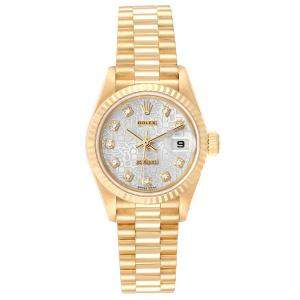 Rolex Silver Diamonds 18K Yellow Gold President Datejust 79178 Women's Wristwatch 26 MM
