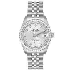 Rolex Silver Diamonds 18K White Gold And Stainless Steel Datejust 178384 Women's Wristwatch 31 MM