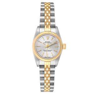 Rolex Silver 18K Yellow Gold And Stainless Steel Oyster Perpetual 67193 Women's Wristwatch 24 MM