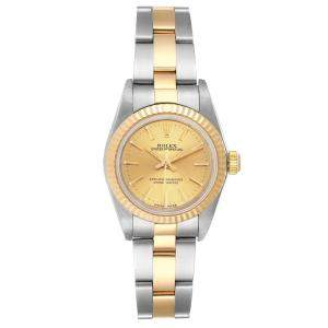 Rolex Champagne 18K Yellow Gold And Stainless Steel Oyster Perpetual 76193 Women's Wristwatch 24 MM