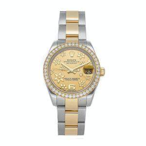 Rolex Champagne Diamonds 18K Yellow Gold And Stainless Steel Datejust 178383 Women's Wristwatch 31 MM
