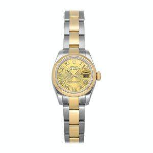 Rolex Champagne 18K Yellow Gold And Stainless Steel Datejust 179163 Women's Wristwatch 26 MM