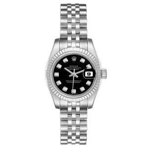 Rolex Black Diamonds 18K White Gold And Stainless Steel Datejust 179174 Women's Wristwatch 26 MM