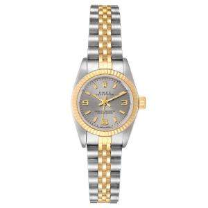 Rolex Gray 18K Yellow Gold And Stainless Steel Datejust Automatic 67193 Women's Wristwatch 24 MM