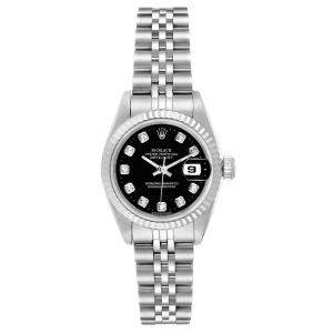 Rolex Black Diamonds 18K White Gold And Stainless Steel Datejust Automatic 69174 Women's Wristwatch 26 MM