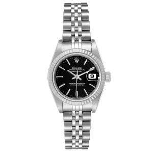 Rolex Black 18K White Gold And Stainless Steel Datejust Automatic 79174 Women's Wristwatch 26 MM
