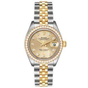 Rolex Champagne Diamonds 18K Yellow Gold And Stainless Steel Datejust 279383 Women's Wristwatch 28 MM