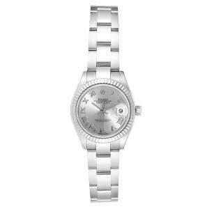 """ساعة يد نسائية رولكس """"دايتجست 279174"""" ستانلس ستيل و ذهب أبيض عيار 18 فضية 28 مم"""