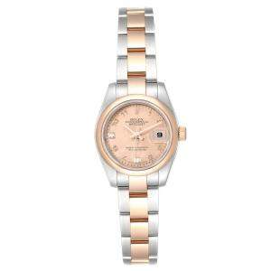 Rolex Salmon Diamonds 18k Rose Gold And Stainless Steel Datejust 179161 Women's Wristwatch 26 MM
